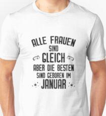 Alle Frauen werden im Januar geboren lustiges Geschenk Slim Fit T-Shirt