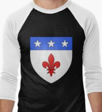French France Coat of Arms 1477 Blason de la ville de Beaulieu lès Loches  Men's Baseball ¾ T-Shirt