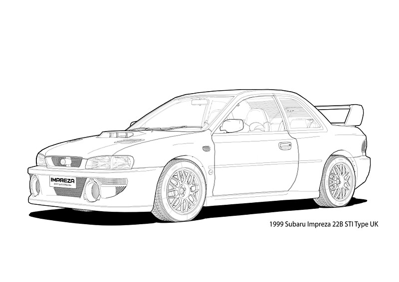 Quot Subaru Impreza 22b Sti Type Uk Line Illustration Quot Art