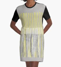Yellow Rising - Abstract Stripes in Yellow, Grey, Black & White Graphic T-Shirt Dress