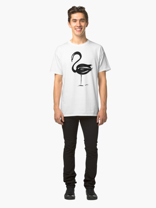 Alternate view of Flamingo - fusion of pen strokes Classic T-Shirt
