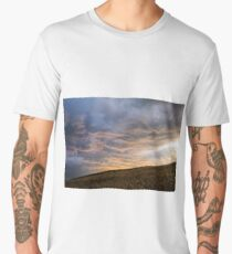 background of the sky with clouds at sunset with ground Men's Premium T-Shirt