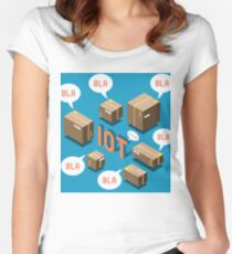 Isometric Internet of Things Concept Women's Fitted Scoop T-Shirt