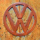 Vintage Rusty Volkswagen Bus Logo by Catherine Sherman