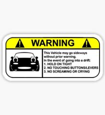 MX5 Drift Warning Sticker
