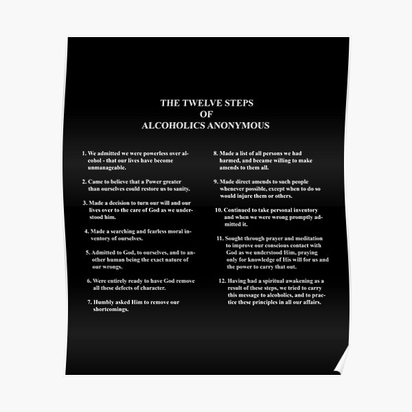 12 Steps Of Alcoholics Anonymous Advocacy Poster