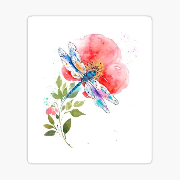 Watercolor Dragonfly on a flower II  Sticker