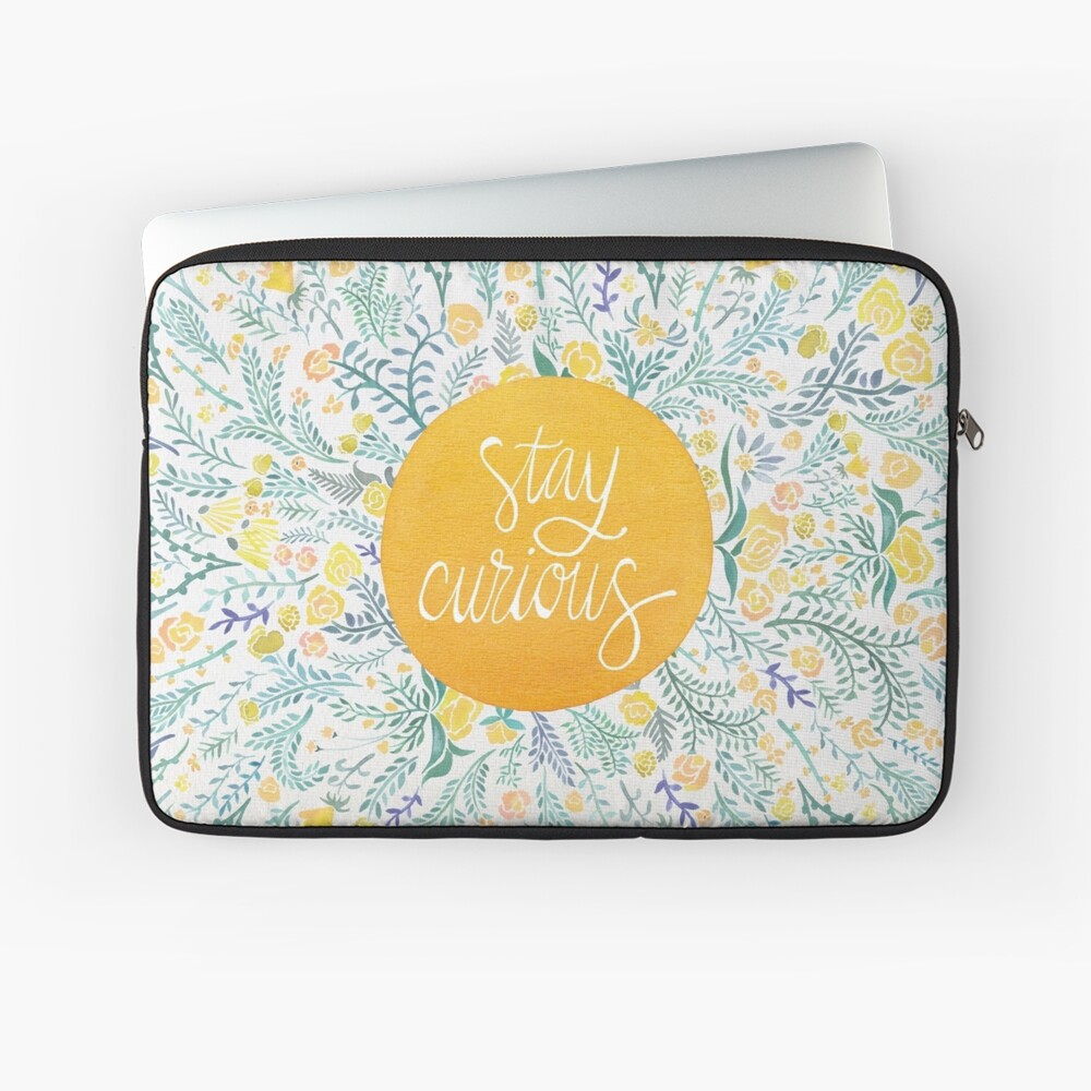Stay Curious – Yellow & Green Laptop Sleeve
