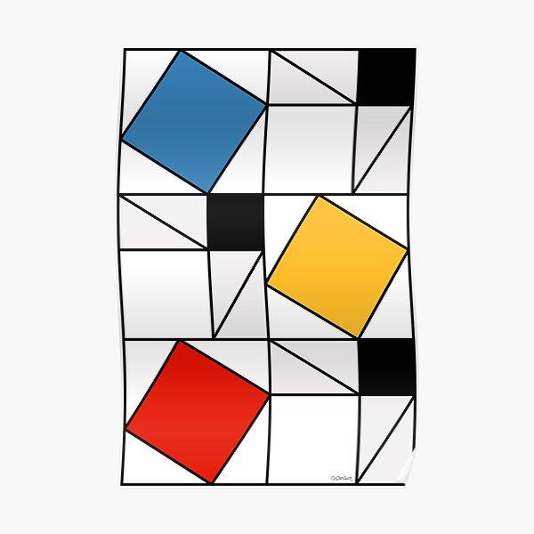 Mondrian meets Pythagoras  & Fibonacci Poster