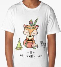 Cute fox,tribal card- be brave Long T-Shirt
