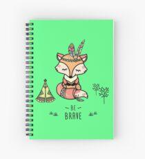 Cute fox,tribal card- be brave Spiral Notebook
