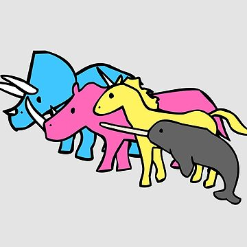 CMYK Horned Warrior Friends (Unicorn, Narwhal, Triceratops, Rhino) by jezkemp