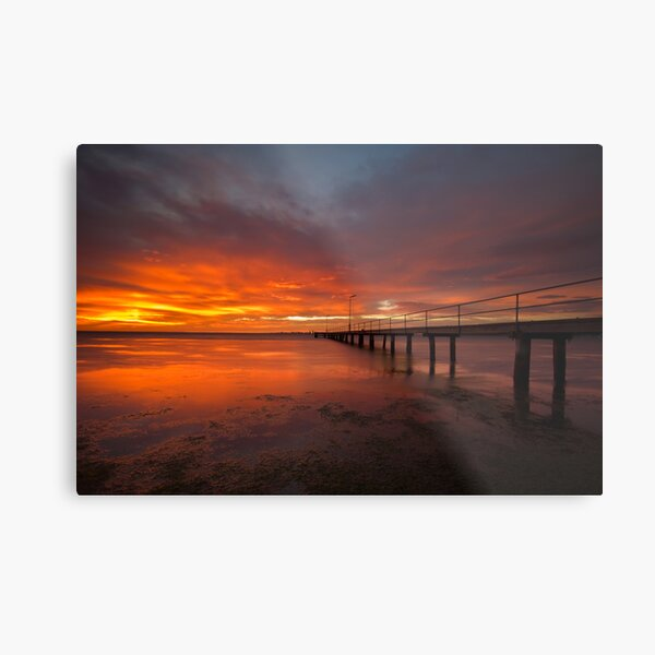 Sunrise at the Rippleside Pier Metal Print