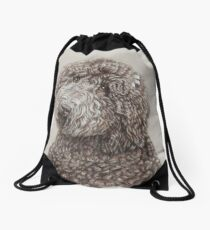 Poodle dog portrait in sepia Drawstring Bag