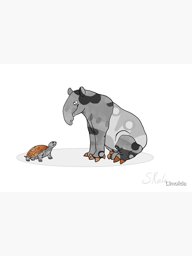 Tapir And Turtle Cute Animal Illustration Black And White With Copper Metallic Accent Funny Turtle Cartoon Postcard By Limolida Redbubble