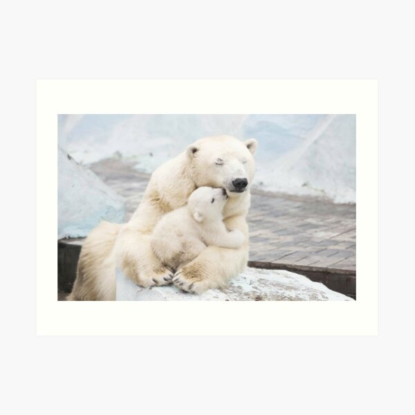 POLAR BEAR ANIMAL PAINTING ARCTIC OCEAN ICE CAP WILDERNESS ART REAL CANVAS PRINT