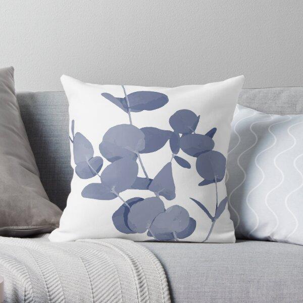 Mediterranean Indigo Blue and White Eucalyptus Leaves Print Throw Pillow