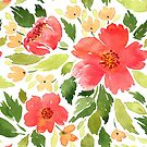 Red camellia pattern by Foxeye Daisy