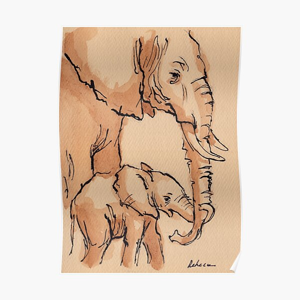 My Mama: Baby Elephant & Mama Watercolor Painting #12 Poster