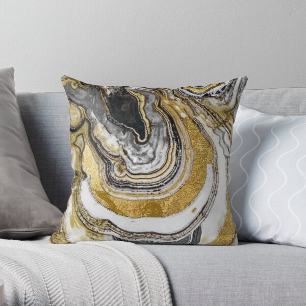 Stone Prose Gold Geode Throw Pillow