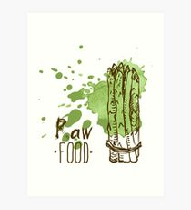 hand drawn vintage illustration of asparagus Art Print