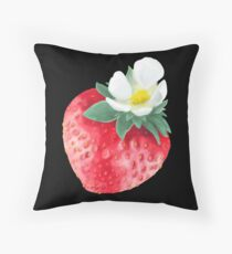Painted summer strawberry Throw Pillow