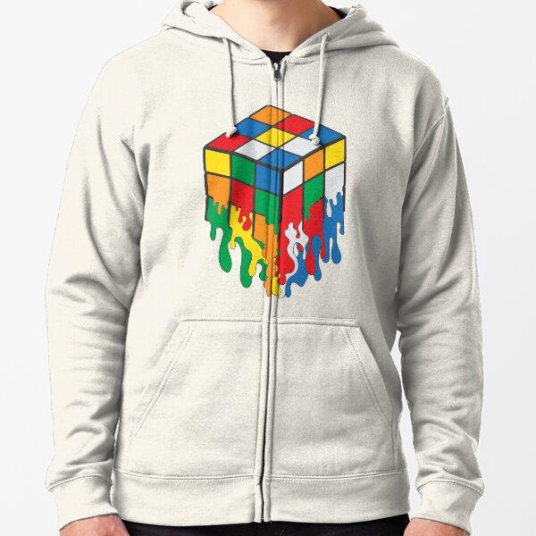 Melting Rubiks Cube Zipped Hoodie
