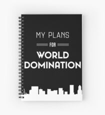 My Plans for World Domination Spiral Notebook with Cityscape WDS - BLACK Spiral Notebook