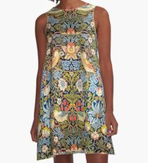 William Morris Strawberry Thief Design 1883 A-Line Dress
