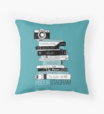 #BOOKSTAGRAM - Stack of Books (Mint Teal Green) Throw Pillow