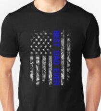Best Dad Ever Law Enforcement Thin Blue Line Family Retro American Flag Police Officer Matching Family Unisex T-Shirt