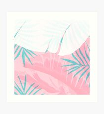 Elegant Palm Trees Pink Foliage Design Art Print