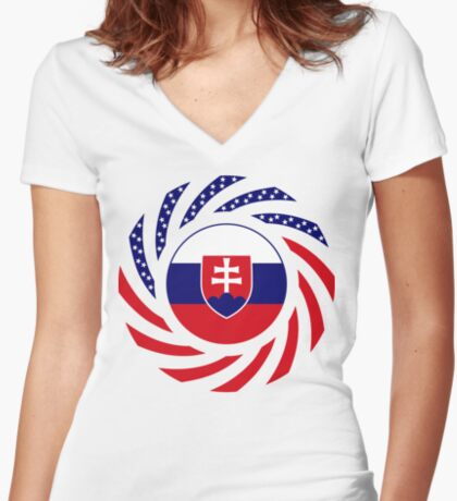 Slovakian American Multinational Patriot Flag Series Fitted V-Neck T-Shirt