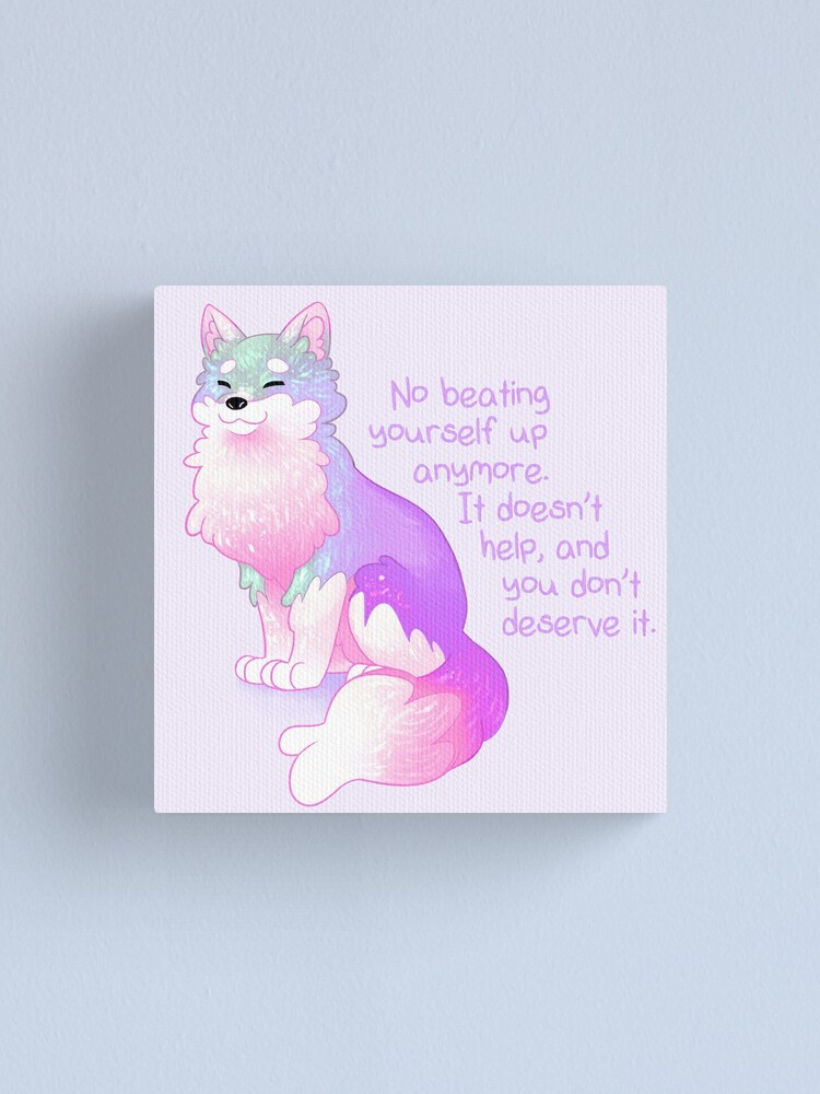 """Alternate view of """"No Beating Yourself Up Anymore"""" Pastel Rainbow Doggo Canvas Print"""