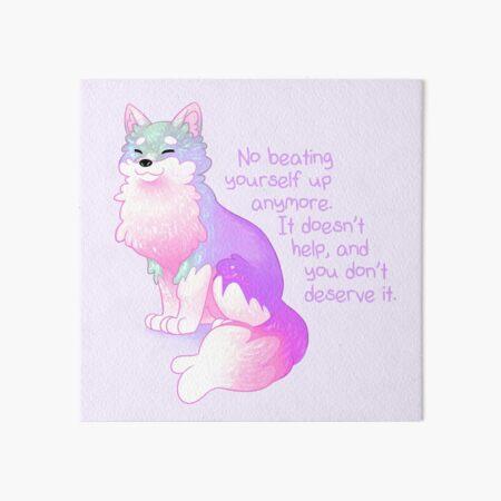 """No Beating Yourself Up Anymore"" Pastel Rainbow Doggo Art Board Print"