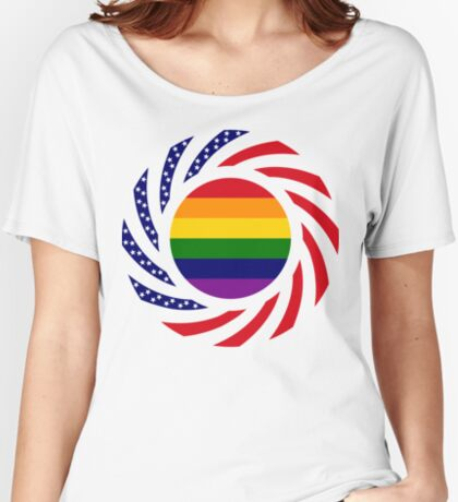 Rainbow American Patriot Flag Series Relaxed Fit T-Shirt