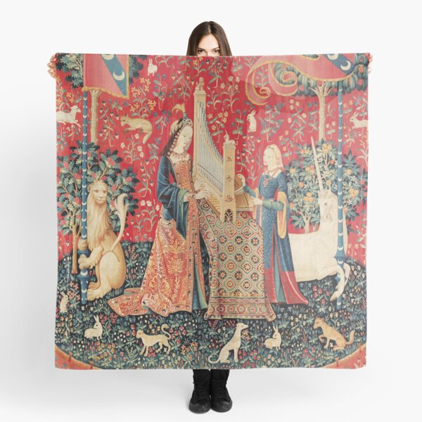 UNICORN AND LADY PLAYING ORGAN WITH ANIMALS , Hearing Scarf