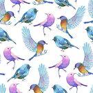 Colorful watercolors birds pattern by artonwear