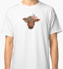 Red Cow with Flower Crown Classic T-Shirt