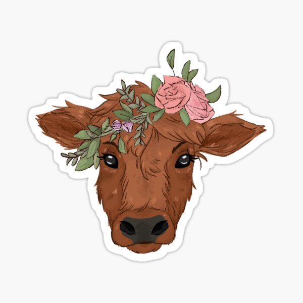 Red Cow with Flower Crown Sticker