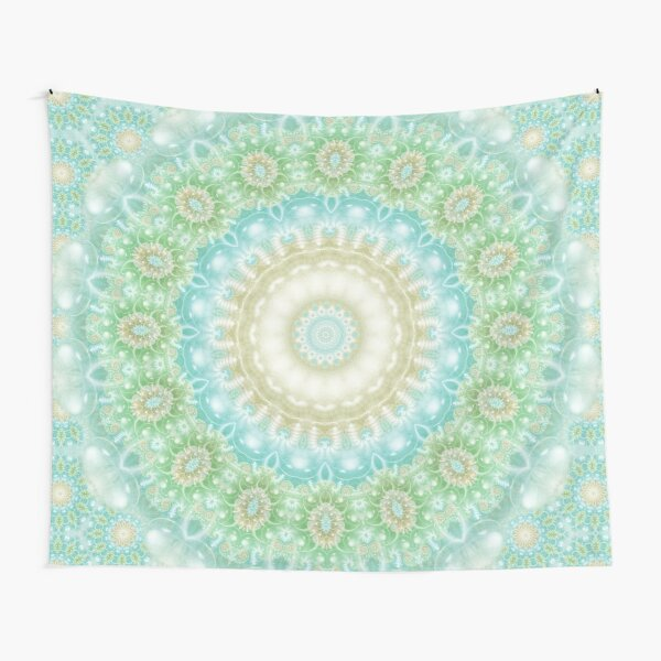 Earth and Sky Mandala in Pastel Blue and Green Tapestry