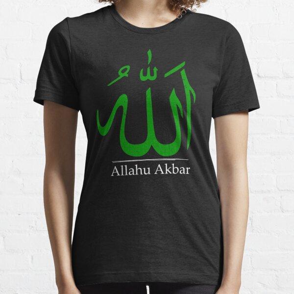 Allahu Akbar   'Allah' in Arabic calligraphy   Islamic green Essential T-Shirt