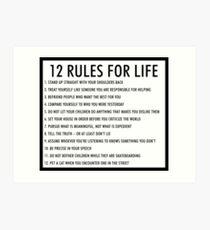 12 Regeln für das Leben jordan peterson (version 1) Kunstdruck