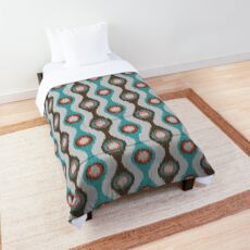 Ikat Stringed Beads Pattern - Teal Brown Orange Grey Comforter