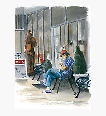 Sidewalk Reader Photographic Print