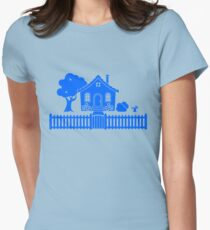 Cottage w/ Picket Fence (Blue design) Womens Fitted T-Shirt