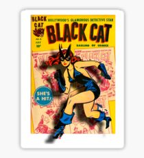 BLACK CAT ON THE PROWL - LARGE Sticker
