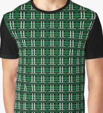 Green and Silver Plaid Graphic T-Shirt