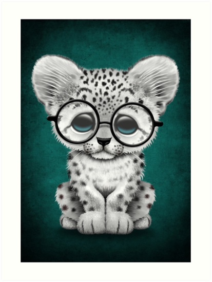 Cute Snow Leopard Cub Wearing Glasses on Teal Blue by jeff bartels