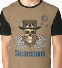 Steampunk Skeleton with Hat, Feathered Wings, Gears and Keys Graphic T-Shirt